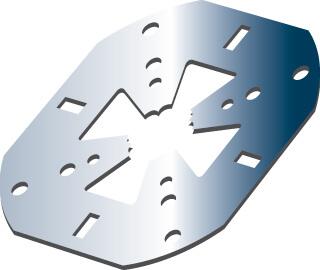 Plaque de centrage adaptable sur tout montage de pièces et sur pièce brute de sciage
